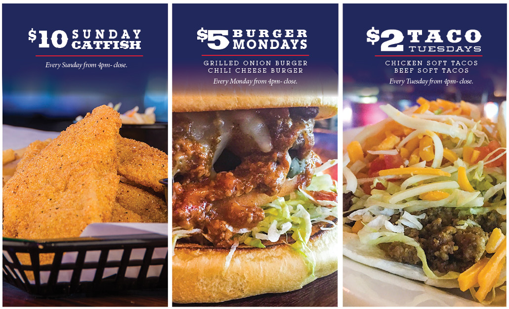 Toby's American Grill Weekly Specials